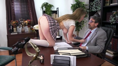 Lena Paul bent over dean's desk gets fucked for grades