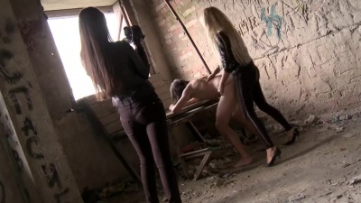 Guy gets kidnapped spanked & straponed on cam at gunpoint by two girls