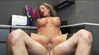 Richelle Ryan fucking her boss in fishnet stockings at work