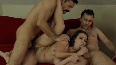 Pornstar Lily Love taking two dicks in Starfucked part 4
