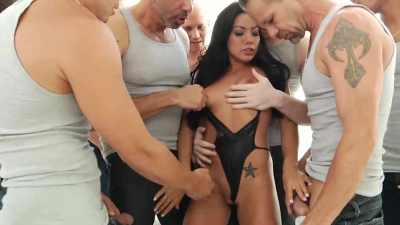 Asian Morgan Lee get bukkaked by ten dicks in her first blowbang