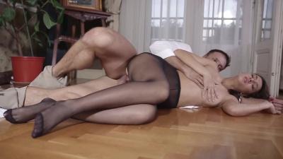 Alexis Brill does footjob & fucks in sheer high pantyhose