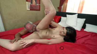 Cute young chick sucks old gentleman's cock and takes it in her tight pussy