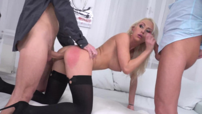 Gorgeous boss lady Christina Shine threesome with two associates