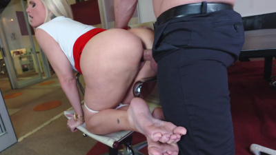 Lady boss Alena Croft banging her employee on a meeting table
