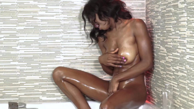 Gorgeous ebony babe Hazel Grace is spasming orgasmically on white dick