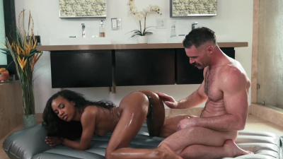 Ebony masseuse Demi Sutra loves white dicks as much as cum