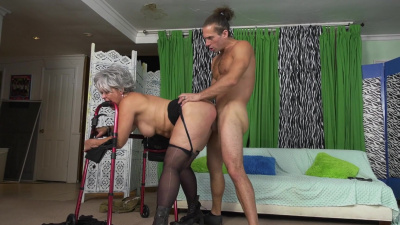 Lusty granny Kelly Leigh orgasms hard on young cock