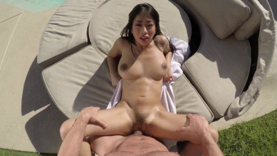 Petite chinese Jade Kush fucks by the pool POV