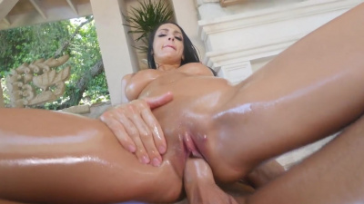 Sofie's Ryan oiled skin and shaved pussy attracts hot guys