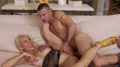 Mature blonde Erica Lauren  rides his big cock on the couch until cumshot