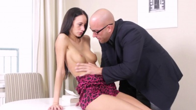 Veronika sucked & shoved her tricky old teacher's dick inside her pussy
