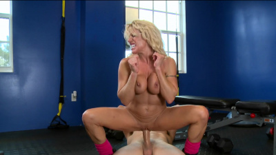 Old but fit Gina West gets into some heavy fucking for an extreme workout session
