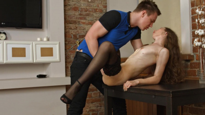 Skinny minx Stefany A helps a guy blow his nut all over her little butt