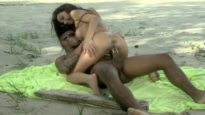 Brazil beauty Monica Mattos takes huge dick deep in her fuckholes