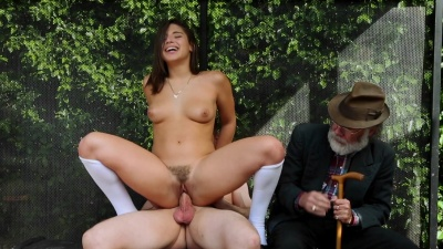 Abella Danger throated & fucked a random guy next to her grandpa in public