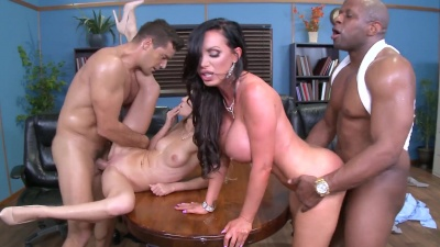 Nikki Benz & Alex Grey in a interracial foursome orgy in the meeting room