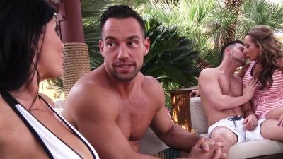 Richelle Ryan seduces and rides a married man's stick outdoor at a resort