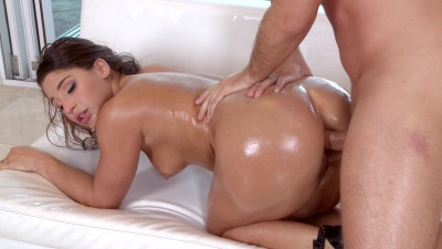 Lubed up Abella Danger enjoys her first ever anal sex experience