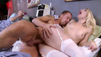Laura Bentley in nurse uniform sucks & fucks a patient while cuckold watches
