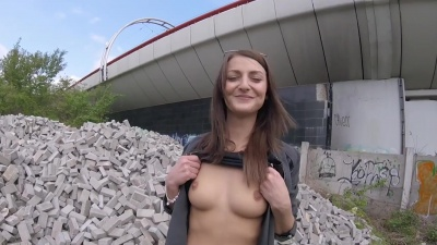 Katy Rose does a bj & rides stranger's dick outdoors for money